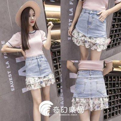哆啦本鋪 韓國夏新款韓范高腰雪紡拼接牛仔半身裙女假兩件D655