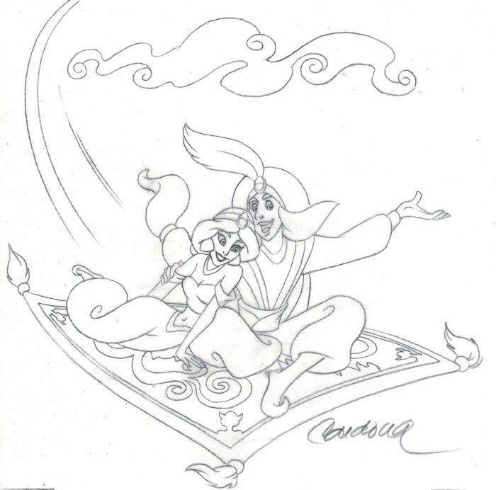 迪士尼Disney 藝術家:Josep Maria Cardona ----  Aladdin & Jasmine