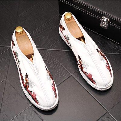 發發潮流服飾夏季男士休閒鞋套腳樂福鞋平底復古男鞋子百搭青年布鞋透氣豆豆鞋
