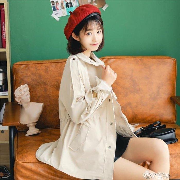 小個子風衣女中長款秋裝韓版學院風寬鬆復古港風外套