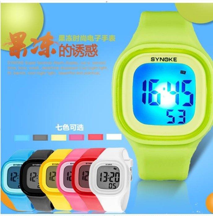 七彩夜光果凍表糖果色手錶時尚潮流男女中學生 電子表