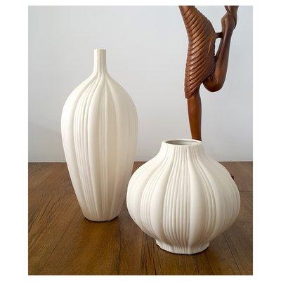 【現貨】素燒質感 陶瓷 造型花瓶(小) 質感白~~昌侑藝術CHY畫廊