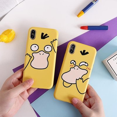 iphone7蘋果手機殼8plus硅膠x可愛5s情侶xr秀恩愛xs可達鴨黃色max