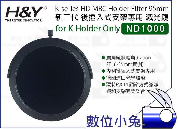 數位小兔【H&Y 新二代 K-series ND1000 減光鏡 95mm】公司貨 ND鏡K-Holder後插式支架專用