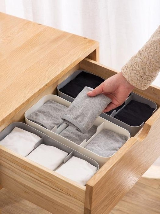 〖免運〗可疊加襪子內衣收納盒抽屜分格內褲整理盒分 『比比熊』