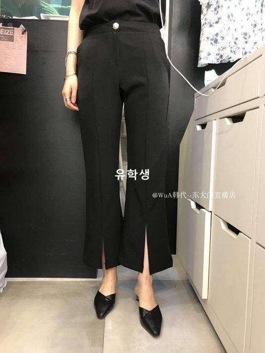 유학생 HEIZE 2019春季 WUA韓國東大門代購 前分叉系扣氣質版正西裝褲