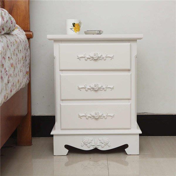 粉紅玫瑰精品屋~歐式現代簡約玫瑰雕花白色小床頭櫃 電話桌 床頭收納櫃~現貨+預購