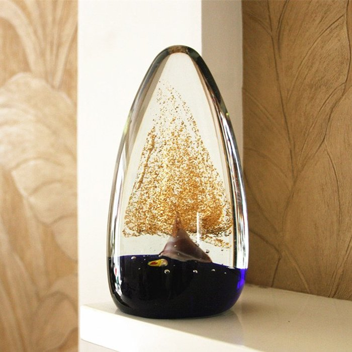 創意家居擺件裝飾風水辦公室桌結婚開業禮物玻璃工藝品發財招財樹