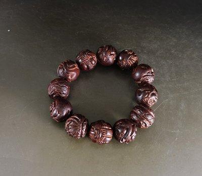 印度小葉紫檀 2.0/12顆 - 雕刻12生肖 手珠    E210