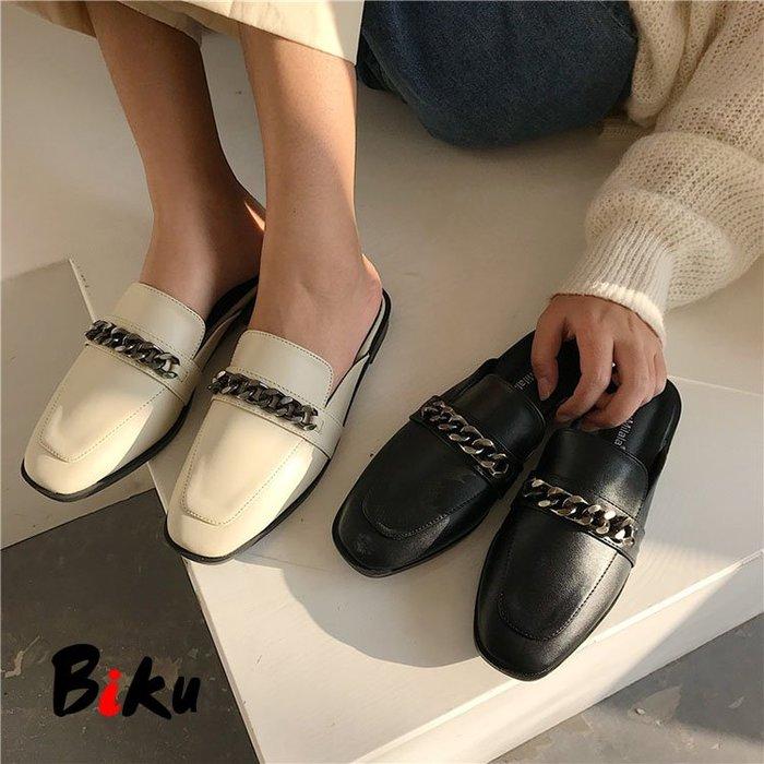 BIKU SHOES 高質感復古金屬扣前包後空方頭軟墊穆勒鞋 半包鞋 懶人鞋