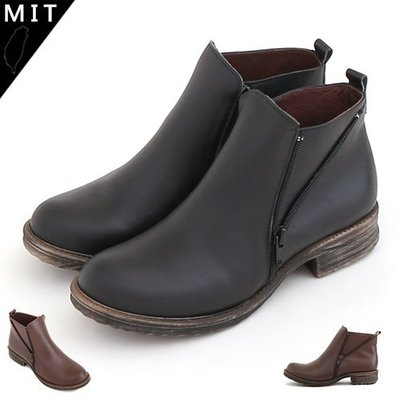 短靴 利落不羅嗦復古拉鍊素面簡約手工真皮低跟短靴 馬丁靴 機車靴 軍靴 MIT製造 丹妮鞋屋