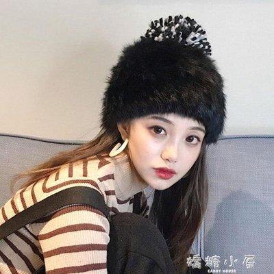 兔毛帽子女冬天時尚潮百搭韓版秋冬季加絨加厚甜美可愛針織毛線帽