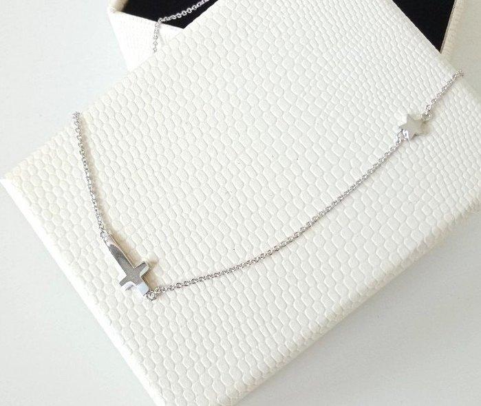 【BJGO】橫十字架星星鈦鋼項鍊 鎖骨鍊  送禮自用 禮物