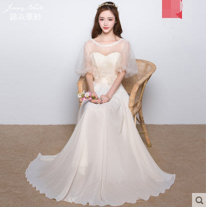 2018新款春秋一字肩伴娘小晚禮服年會主持裙裝長款女姐妹團香檳色(灰色和香檳色)