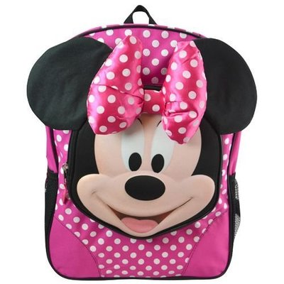 """MINNIE 16"""" BACKPACK WITH MOLDED FACE 米妮體笑臉後背包 16吋"""