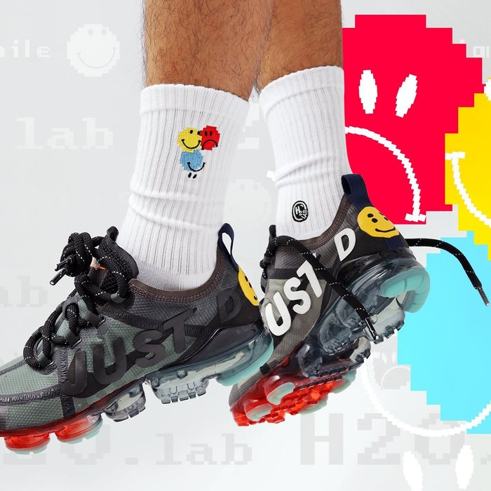 【A-KAY0】H2O.LAB 男女 SOCKS DIGITAL SMILE 微笑 中高筒襪 白【19SS06-WH】