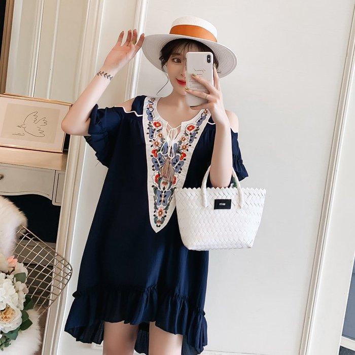 ✿ 吉米花 ✿ B-078268 民族風刺繡露肩短袖連身裙 ( 藍 5XL ) 全碼 現貨