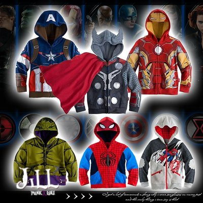 Marvel漫威英雄系列兒童連帽長袖外套 美國隊長雷神索爾鋼鐵人蜘蛛人浩克【J1F6003】