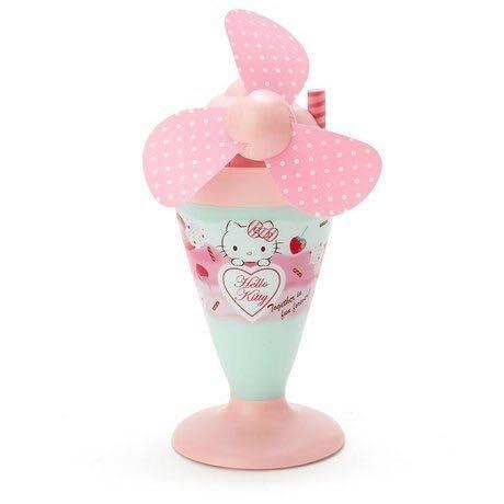 Hello Kitty 軟葉片冰淇淋造型電池式隨身風扇《粉綠》立扇.手持電風扇