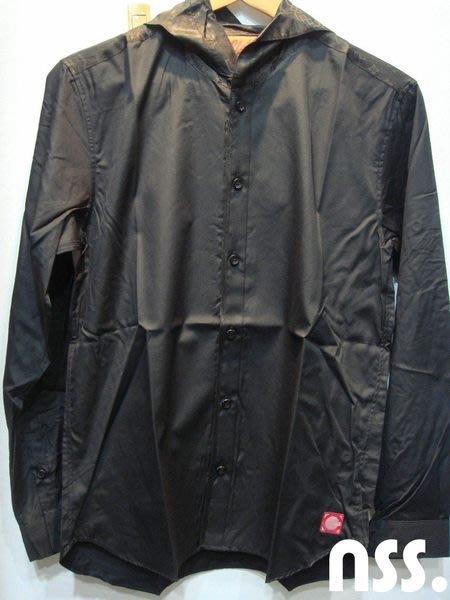 特價「NSS』CLOT EDGE PIPING HOODY SHIRT 中國風 絲綢 黑 連帽 襯衫 冠希 M