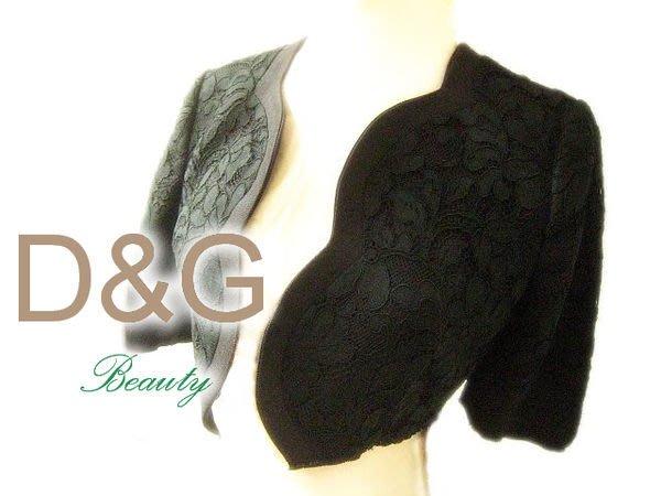 *Beauty*DOLCE &GABBANA D&G黑色蕾絲短罩衫 36號 WE