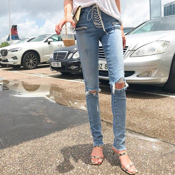 《巴黎拜金女》高腰破洞牛仔褲女顯瘦顯腿長牛仔直筒褲