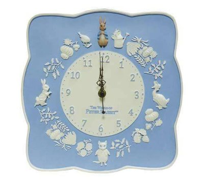 PETER RABBIT 藍白色彼得兔北歐風壁鐘 掛鐘靜音 鄉村風 壁鐘 擺飾 家飾