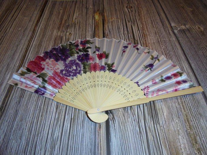 漂亮 竹製 (白)日式風格 摺疊扇子 夏季手扇
