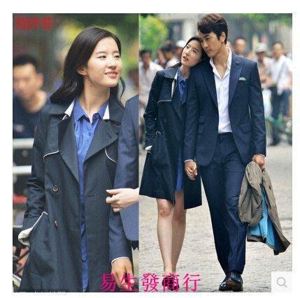 【易生發商行】劉亦菲明星同款女式風衣秋季中長款修身顯瘦氣質女外套F6212
