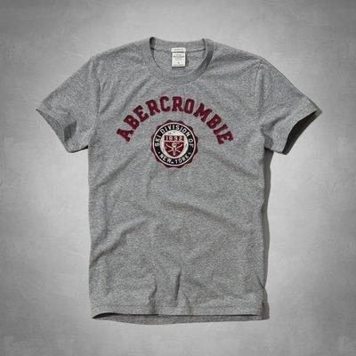 Maple麋鹿小舖 Abercrombie&Fitch *AF 灰色徽章貼布短T* ( 現貨L號 )
