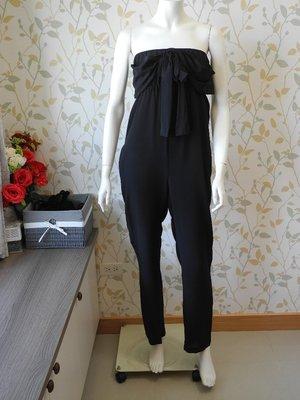 *pipi shop*全新美國品牌line dry 休閒度假時尚清爽百搭黑色100% 真絲一字平口領高腰連身長褲