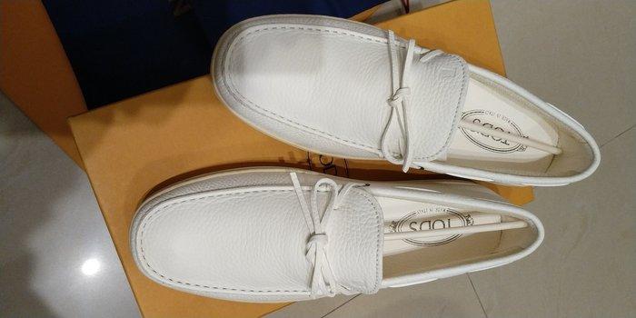 Tod's 男款 全新米白皮面樂福休閒鞋 UK9 適合 US10~11