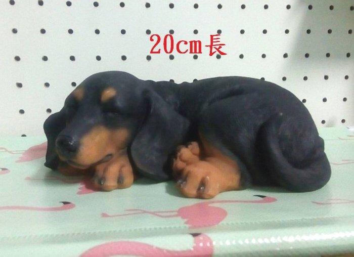 【浪漫349】獨件貨樣品 單個價 小憩休息睡覺的黑臘腸狗  狗雕塑模型 波麗材質