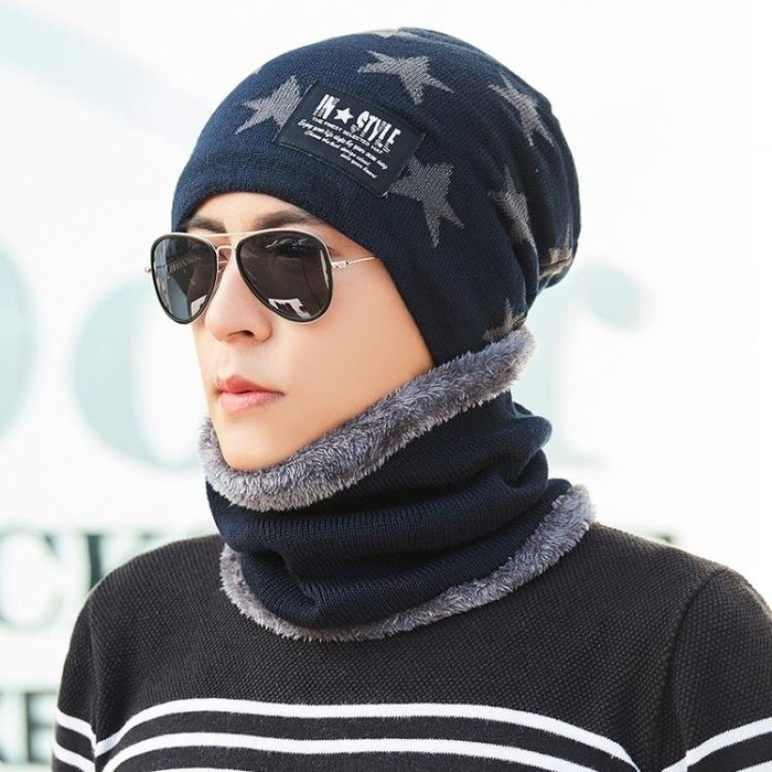 毛帽 男士帽子冬保暖毛線帽騎車防風針織帽時尚韓版秋冬冷帽加絨加厚帽
