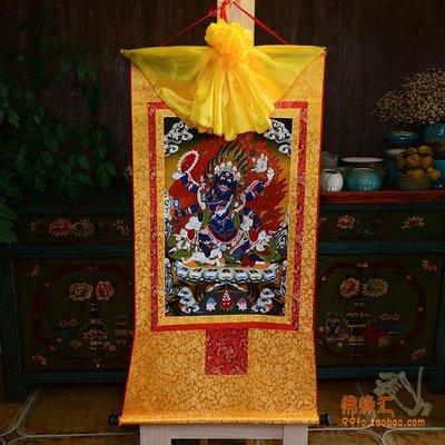 旦旦妙 西藏鍍金燙金唐卡 六臂瑪哈嘎啦唐卡 藏式裝裱35*20cm 佛緣14