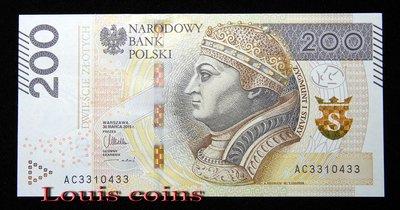 【Louis Coins】B1452-POLAND-2015波蘭紙幣 200 Złotych