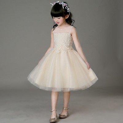 兒童婚紗禮服公主裙女花童演出服蓬蓬裙寶寶生日周歲晚禮服連衣裙
