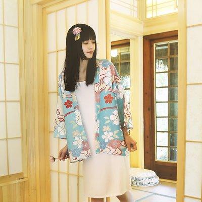 【尋寶圖】現貨!日式和服日本短款和服女復古cos正裝 櫻花 改良傳統京都浴衣女學生防曬服35470