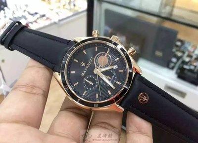 請支持正貨,瑪莎拉蒂手錶MASERATI手錶CRONOGRAFI款,編號:R8871624001,黑色錶面黑色皮革錶帶款