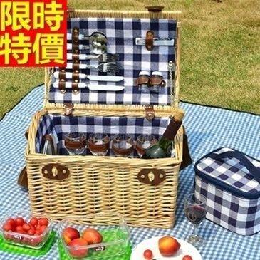 野餐籃 編織籃子含餐具組合-格紋戶外手提四人份郊遊用品68e32[獨家進口][米蘭精品]