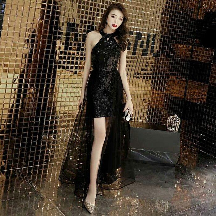 天使佳人婚紗禮服旗袍~~黑色亮片晚禮服透紗