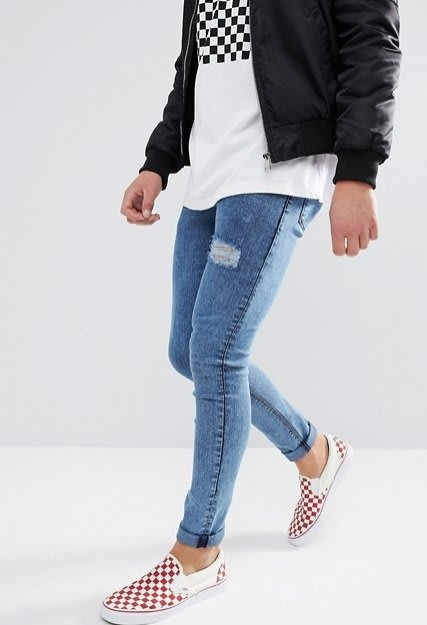 ◎美國代買◎ASOS單褲管刷破仿舊酸洗藍刷色刷破顯廋合身牛仔褲~歐美街風~大尺碼~