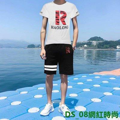 DS_08網紅時尚15春裝12大童13男裝運動套裝14歲高初中學生19短袖短褲衛衣套裝潮