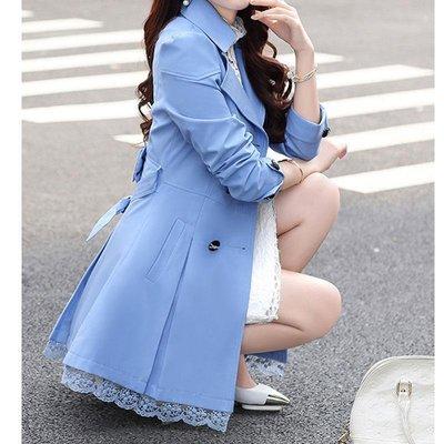 chic風衣女中長款韓版春季新款寬松休閑百搭氣質過膝系帶外套