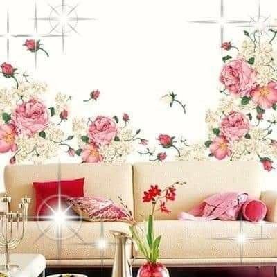 粉紅玫瑰精品屋~高檔牡丹花可移除牆貼 裝飾貼~