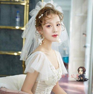 寫真頭紗 短款素紗蓬蓬多層新新款娘頭紗婚紗頭飾旅拍寫新真造型小頭紗配飾婚禮AP-004