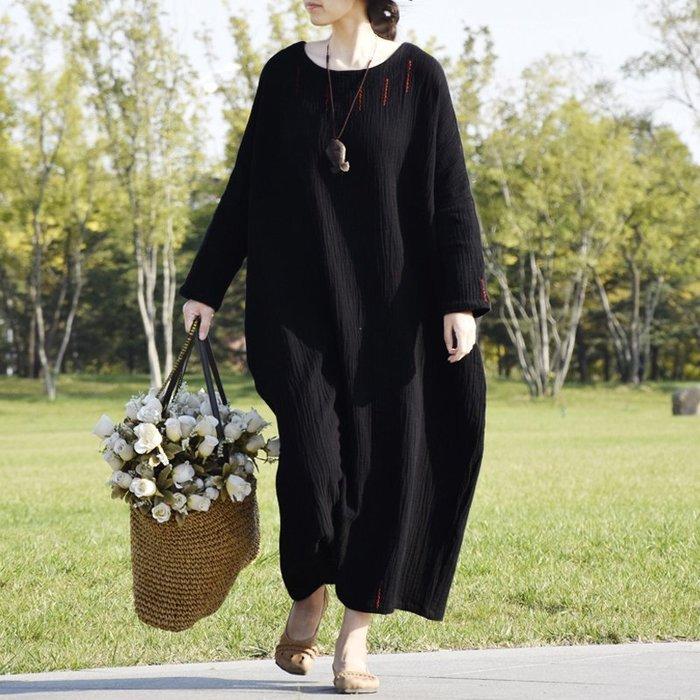 【鈷藍家】棉麻臆想 肌理棉麻袍子手繡紅線點綴圓領蝙蝠袖大碼寬鬆重磅中長連身裙