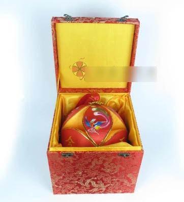 【純手工壯族繡球-直徑20cm-1個/組】靖西舊州純手工壯族20cm婚慶錦盒繡球 -38010