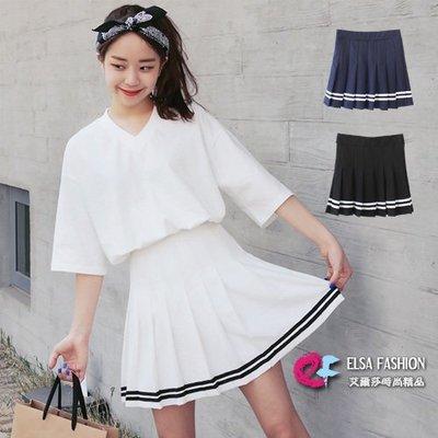 百摺裙 條紋海軍風學生制服百摺短裙 艾爾莎【TGK4989】