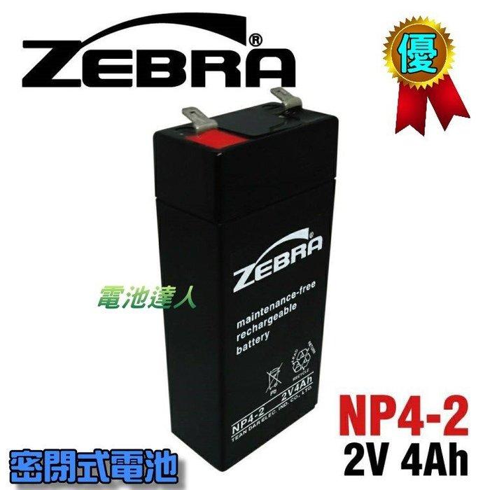 【電池達人】NP4-2 2V4Ah ZEBRA 斑馬 蓄電池 喊話器 大聲公 小蜜蜂擴音器 教學擴音機 揚聲器 內建電池